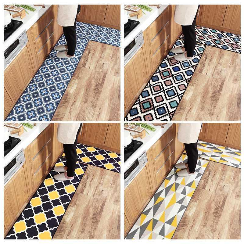 Tissu en nylon à l'huile d'absorption Cuisine Mat résistant à l'usure Tapis de sol Absorption d'eau Porte d'entrée Tapis anti-dérapant Tapis Cuisine