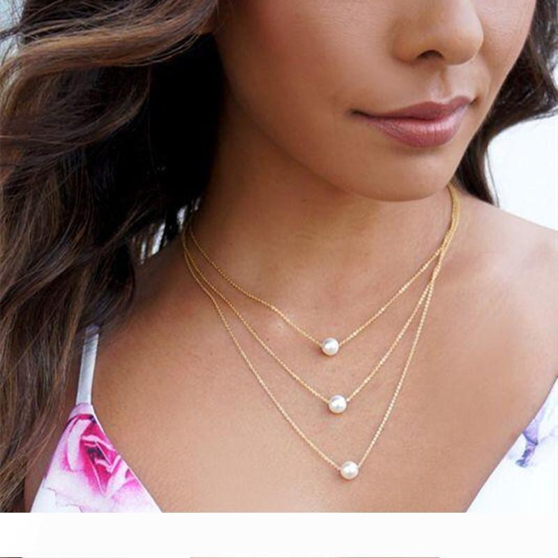 Multi Layer Pearl Choker Necklaces For Women Sexy Fashion Gold Chain Vintage Simple Design Long Necklace HZ