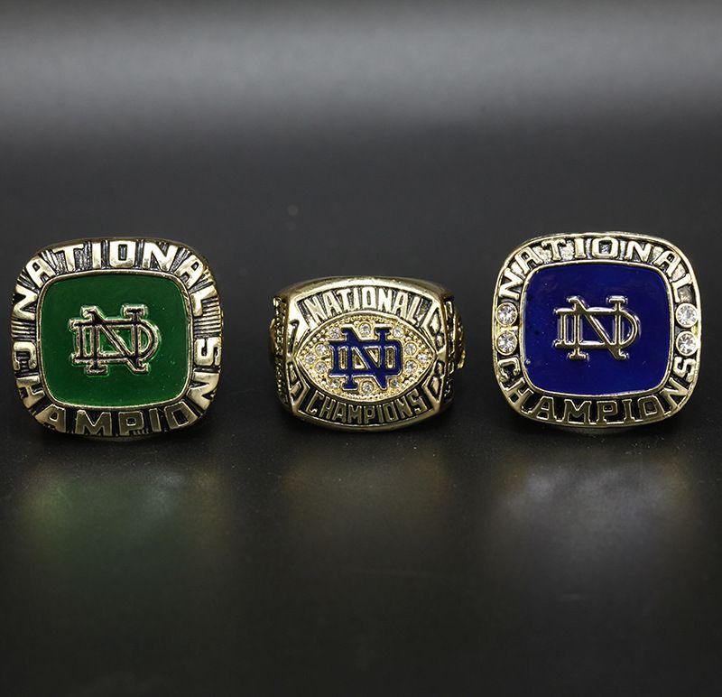 3pcs / set 1973 1977 1988 Notre Dame Fighting Irish Koleji Futbol Milli Şampiyonası Halka Toptan Drop Shipping