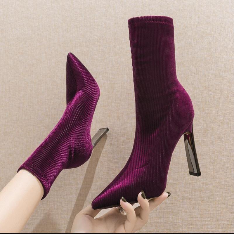 На высоких каблуках Stretch ботинки женщин 2019 Новые короткие сапоги женские носками Bootie скольжению на тонкий зимней обуви женщина фиолетовый черный