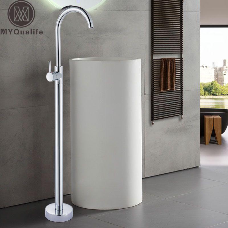 Bright Chrome Floor Stand Faucet Single Handle Bathroom Sink Mixer Tap Hot Cold Water Brass Golden Basin Vanity Sink Tap