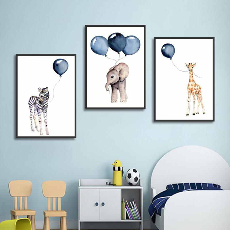 Cartoon Animal poster Balloon Zebra Elefante Giraffe Tela sveglia della pittura moderna di arte della parete Picture For Baby Room Decor