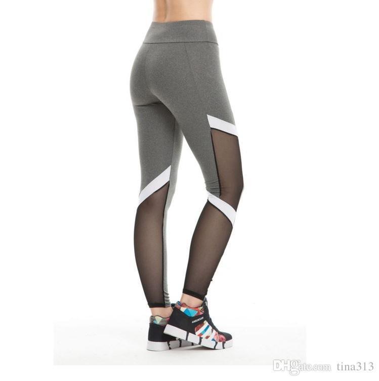 Nouvelle Europe et les États-Unis Hot Style de vêtements pour femmes panty chaud vendeur épissage fils net pantalon de yoga pantalon mouvement T4H0050