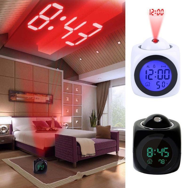 Multi-Function Relógio de Projeção LED coloridos Alarm Backlight eletrônico Função relógio Relatório de voz Com Termômetro Snooze