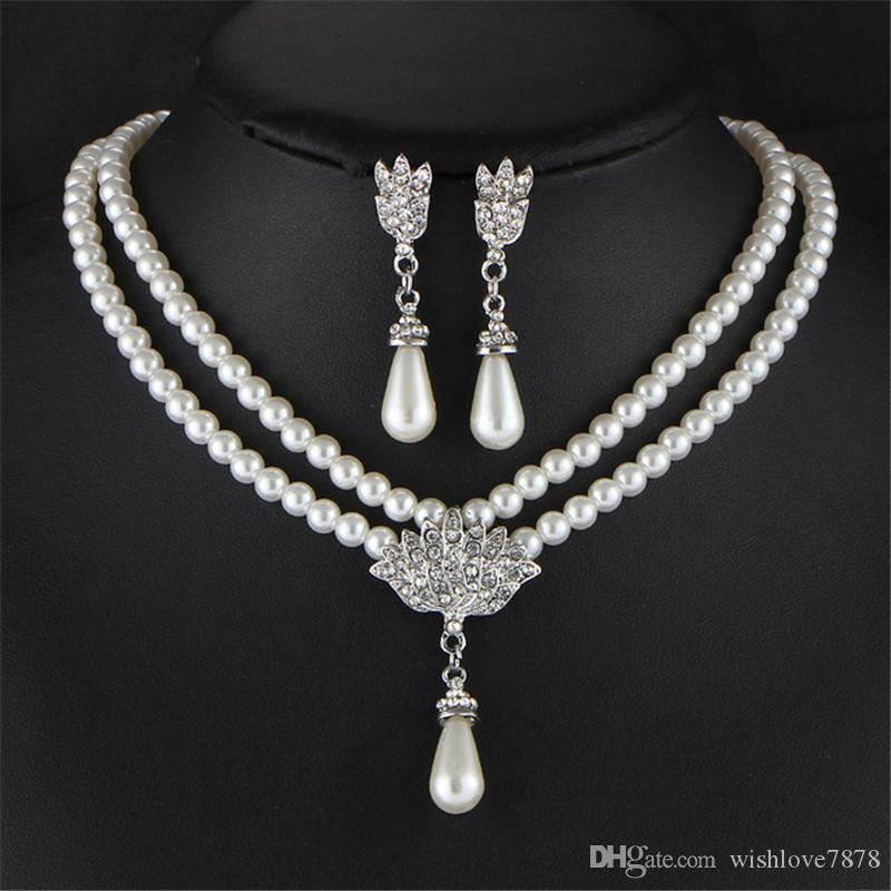 New Wedding Bride Simulated Pearl Jewelry Set Fashion Double Layger Chain Crystal Water Drop Pendant Necklaces Drop Earring