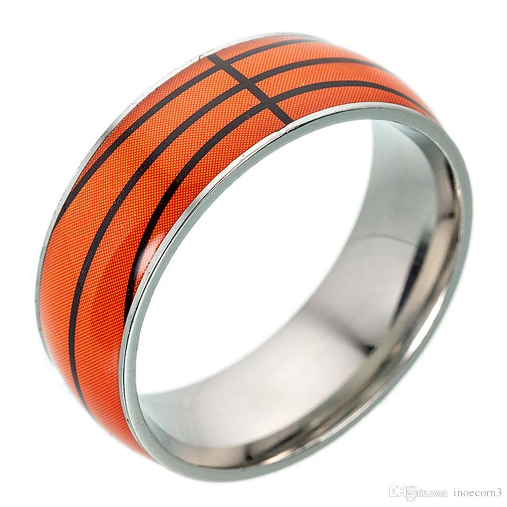 Creative Football Basketball Baseball Rugby Pattern Titanium Steel Ring Sliver Color Alloy Sporting Fashion Jewelry For Gift