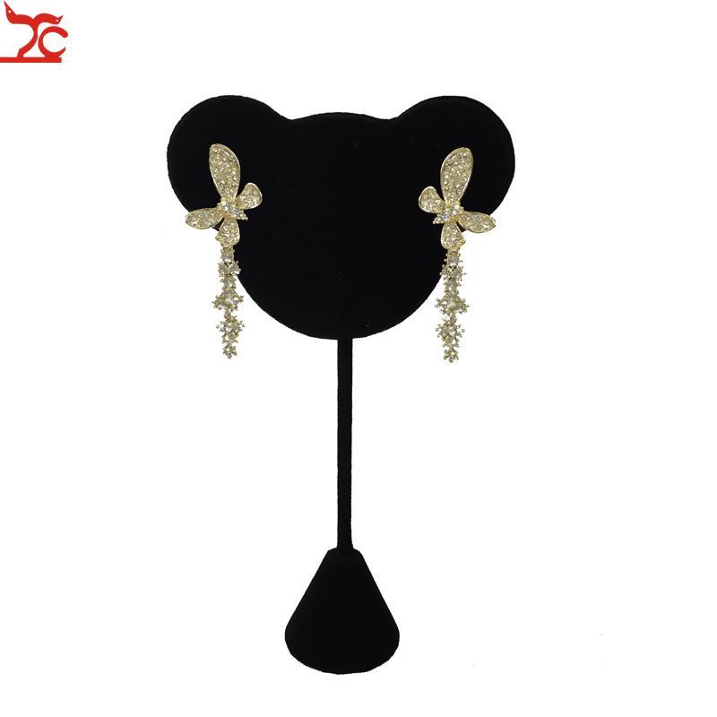 Mode flocage velours noir Bijoux Présentoir Mignon Forme boucle d'oreille Porte Stud Organisateur exposition Showcase stand