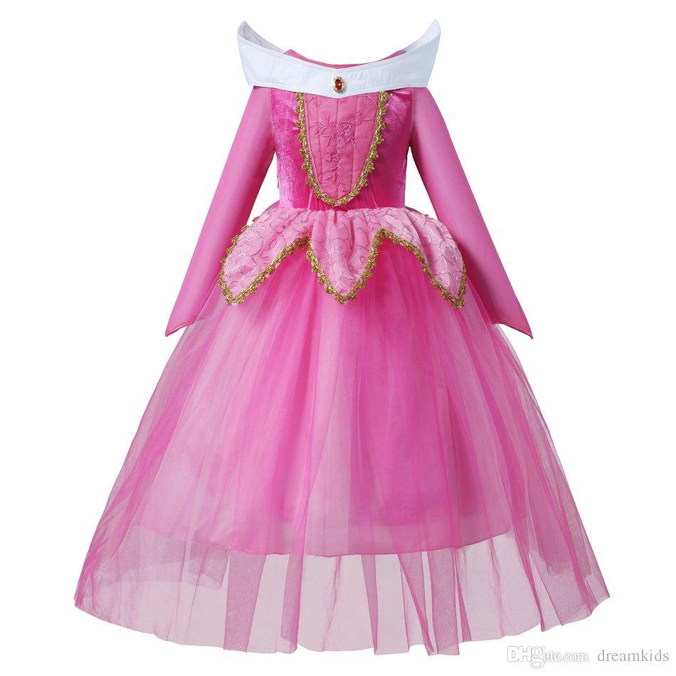 Bela Adormecida Princesa Aurora Vestir Traje Do Partido Manga Comprida 5 Camadas Cosplay Vestido Longo Presente de Aniversário de Halloween