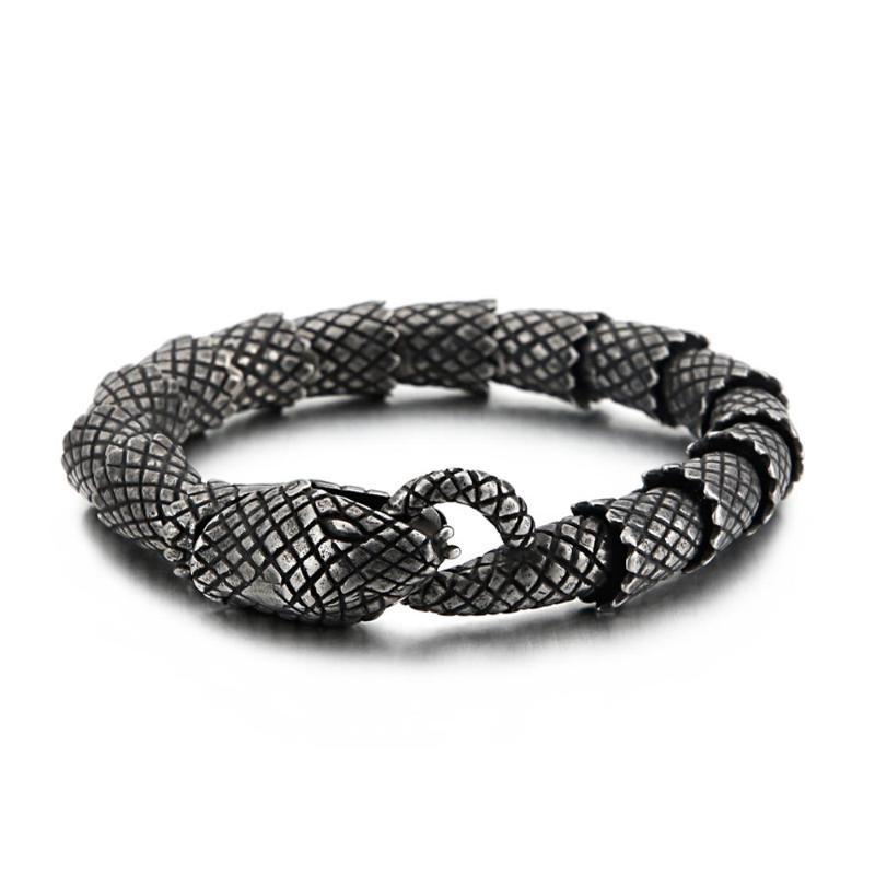 21cm Stainless Steel 316L Vintage Snake Charm Bracelet Best Friend's Gift