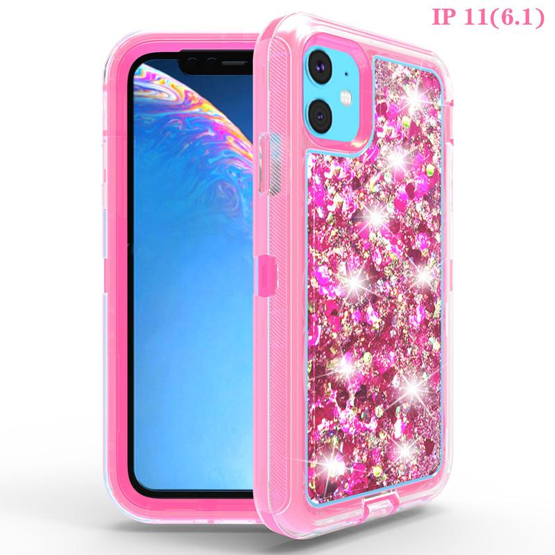 For iPhone 11 Pro Max Bling Liquid Gliter Phone Case 3 in 1 Cystal Protector for Apple 11 XR Xs Max 6 7 8 Samsung Galaxy S10plus S9