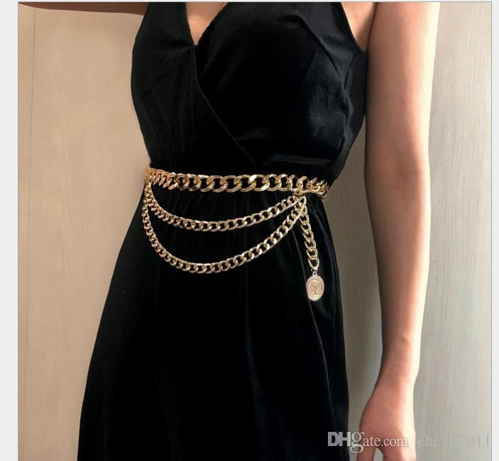 Colgantes atractivos de la cadena del cuerpo joyas mujer personalidad borlas retro con cadena de cintura de múltiples capas