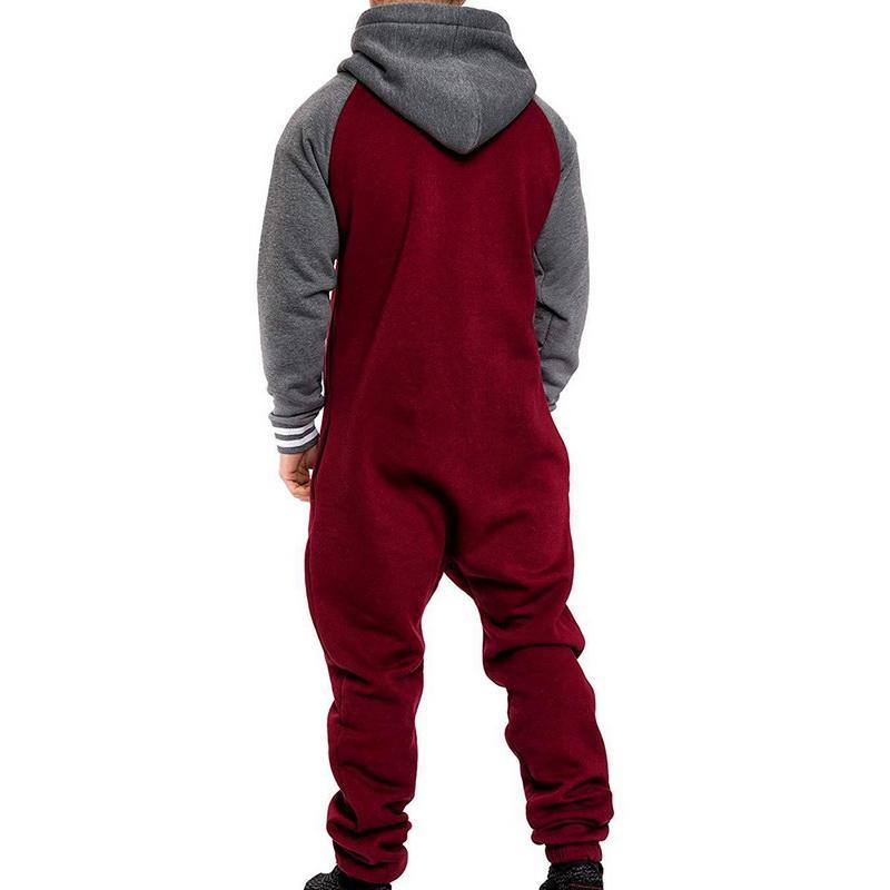 Les hommes d'une seule pièce de vêtement Patchwork Pyjama Salopette Hommes Zipper à capuche camouflage Jumpsuit Streetwear Mode Automne Hiver Salopette