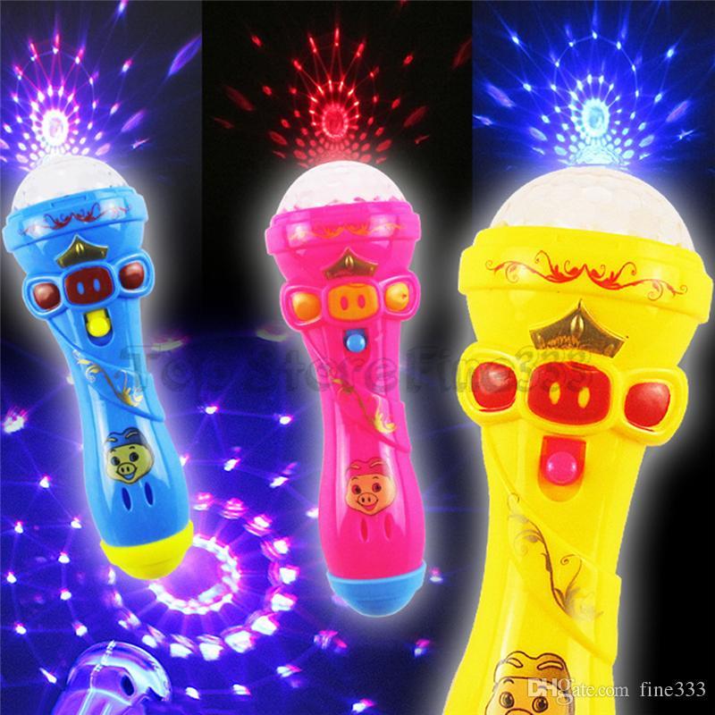 스타터 빛나는 마이크 장난감 타자와 함께 LED가 손전등 어린이 긴급 야간 조명 키즈 플래시 빛나는 마이크 파티 재미 있은 완구