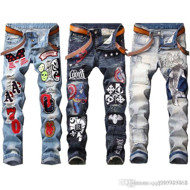 Erkek Sıkıntılı Biker Jeans Slim Fit Biker Motosiklet Denim 2019 Yeni Moda Erkek Tasarımcısı Hip Hop Erkek Jeans Artı boyutu 29-38 Ripped