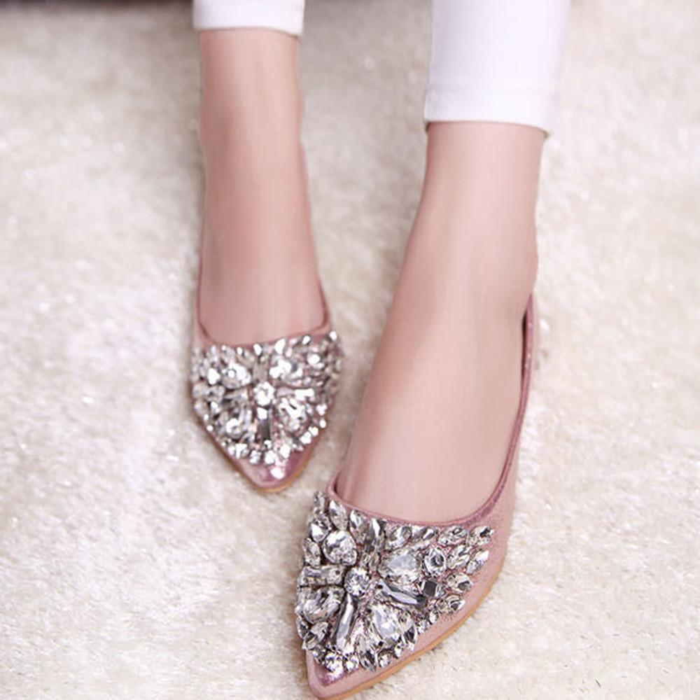Mode Femmes Ballet Chaussures Loisirs Printemps Pointu Ballerine Bling Strass Appartements Chaussures Princesse Brillant Cristal Chaussures De Mariage