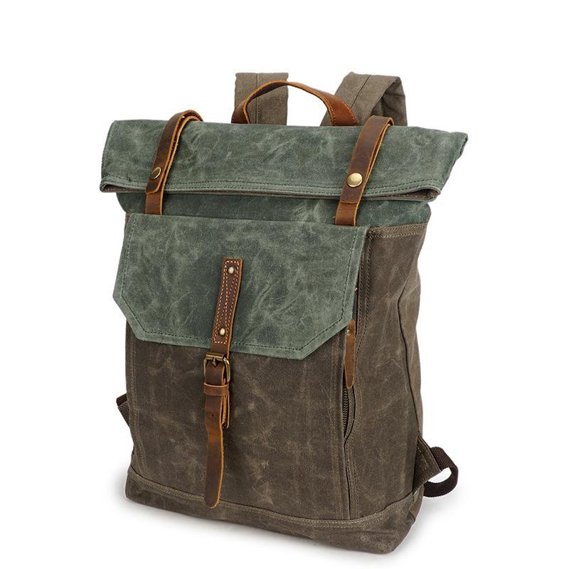 Moda lienzo hombres mochila capacidad de aceite masculino cera bolsa de lona equipaje hombro grande hombres multifuncional negocio bolsas mochila rnopv
