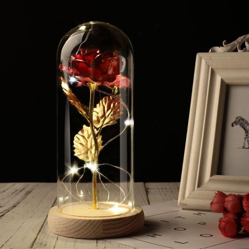 حفل زفاف هدية عيد الحب وردة وزجاج قبة الجمال روز محفوظ للأبد الخاصة رومانسي هدية