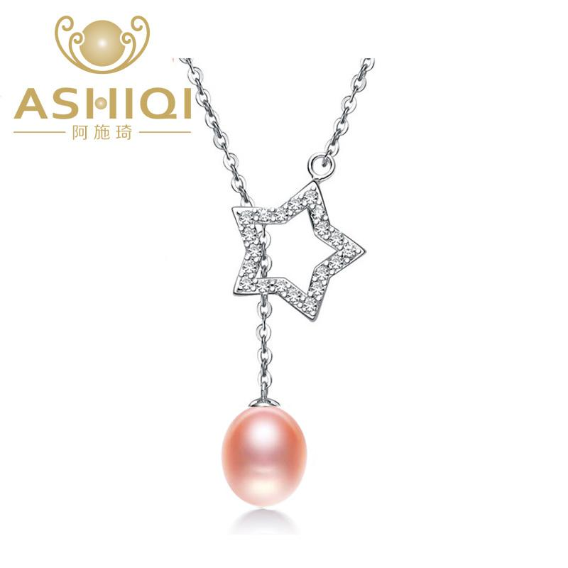 ASHIQI 9-10mm Natural pearl necklace 925 sterling silver necklace pendant for women real freshwater pearl jewelry necklace