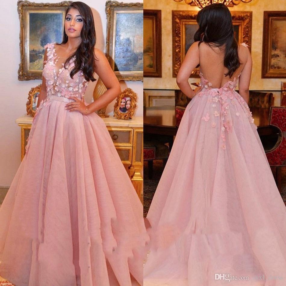Дубай арабский розовый flong арабский вечерние вечерние платья 2018 пром платья 2019 цветочный цветок аппликация Sheer шеи спинки