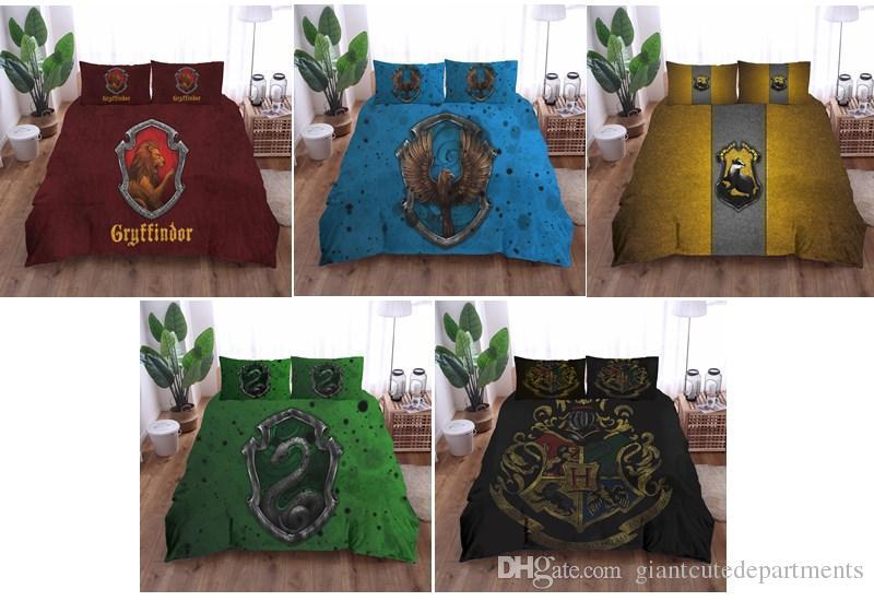 Lenzuola Harry Potter.3d Bedding Set Harry Potter Campus Badge Print Duvet Cover Set Bedcloth With Pillowcase Bed Set Home Textiles Crib Bedding Set Discount Bedding Sets