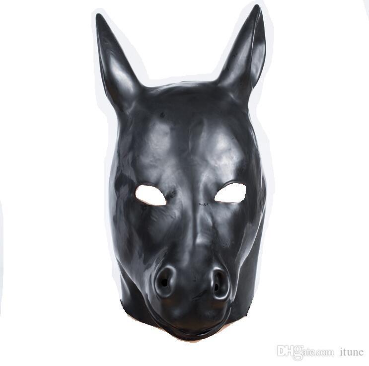 Hot Sex role playing New male female Soft latex bondage black horse head Mask Headgear Hood Adult BDSM toys game set