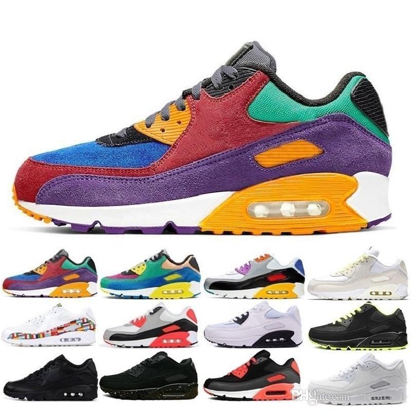 30e anniversaire 90 chaussures hommes femmes chaussures de marque blanche Triple Black Tiger olive Outdoor Training Hommes Baskets Chaussures Chaussures de sport 36-45