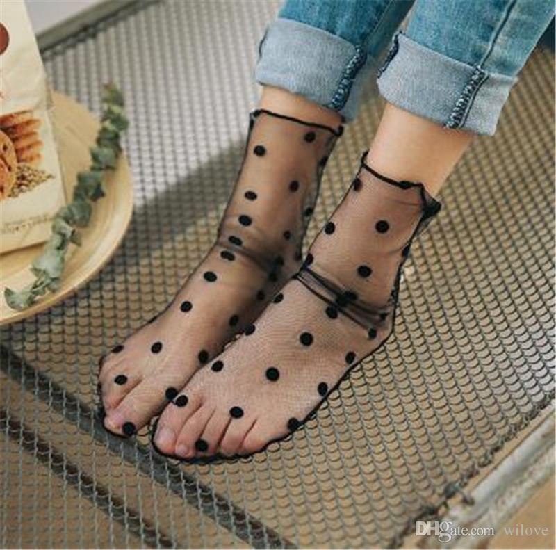 Горячие Продажи Женщины Рюшами Ажурные Лодыжки Высокие Носки Леди Сетки Кружева Рыба Чистая Короткие Носки Chaussettes Femme