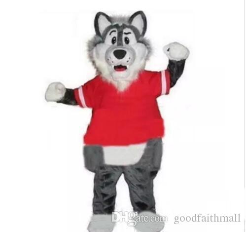 2018 Hot vendita degli adulti di lana grigio lupo mascotte della mascotte Costumes trasporto libero di SME