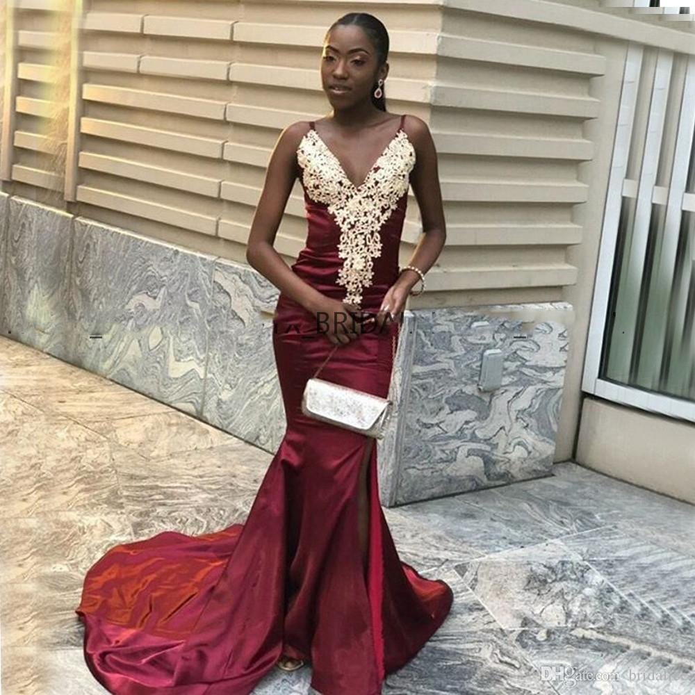 2019 borgoña sexy vestidos de baile negro Gilrs sirena espaguetis sin tirantes largos vestidos de fiesta por la noche con apliques de oro
