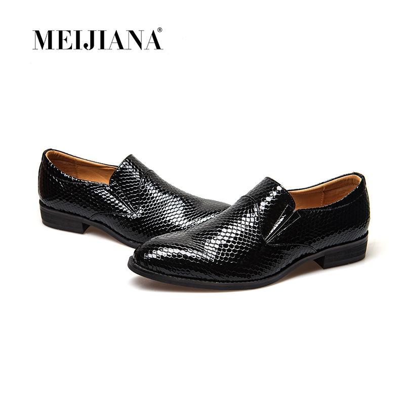Meijiana Snake Leather Männer Oxford Schuhe schnüren sich oben beiläufige Geschäftsleute zeigten Schuhe Marke Männer Hochzeitskleid Bootsschuhe