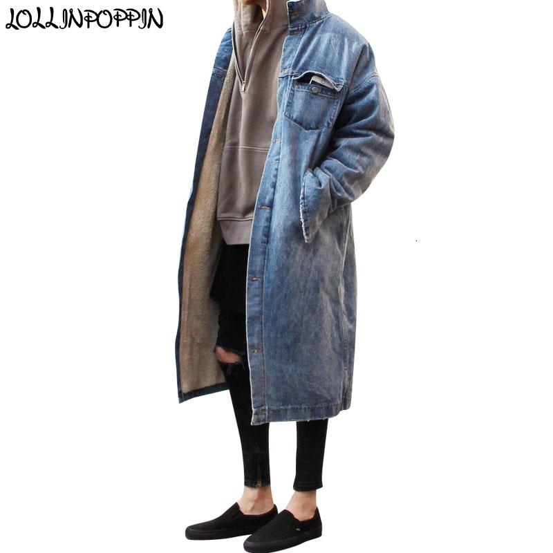 Style Long High Street Hommes Denim Trench Retro Denim Blue Veste Zippered Manchettes simple boutonnage Fleeced hiver Jean Vestes CJ191128