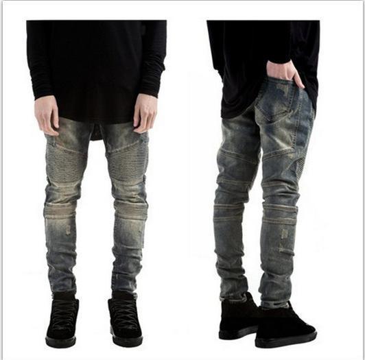 Toptan-2016 Erkek Skinny Biker Jeans Men Hi-Sokak Rider Denim Jeans Motosiklet Pist Slim Fit Moto Denim Pantolon Joggers Yıkanmış Ripped