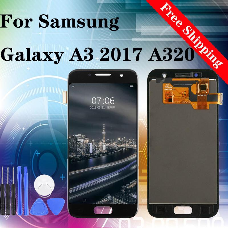 Hot Selling!Factory!Best Price!Repair for Replacing LCD Screen for samsung A3 2017 A320 free shipping 100% tested TFT Brightness adjustable