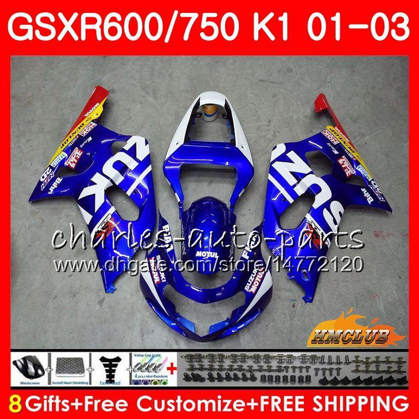 8Gifts الجسم لSUZUKI GSXR750 GSXR 600 750 GSXR600 01 02 03 4HC.0 GSXR600 K1 GSX R750 GSXR750 2001 2002 2003 هدية طقم مصنع جديد الأزرق