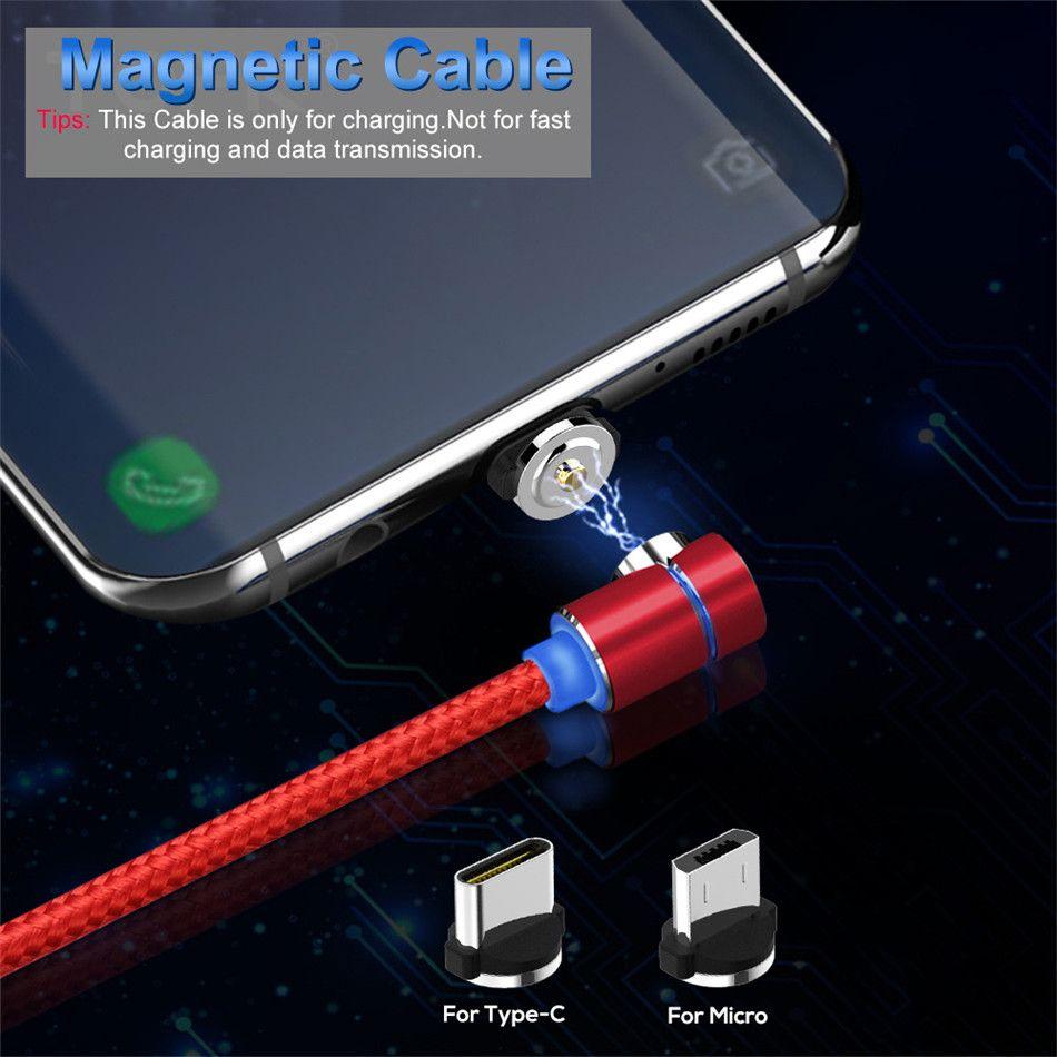 90-Grad-LED Micro Typ-C-USB-Kabel Magnetic-Ladekabel für Smartphone-Adapter freies Verschiffen über DHL