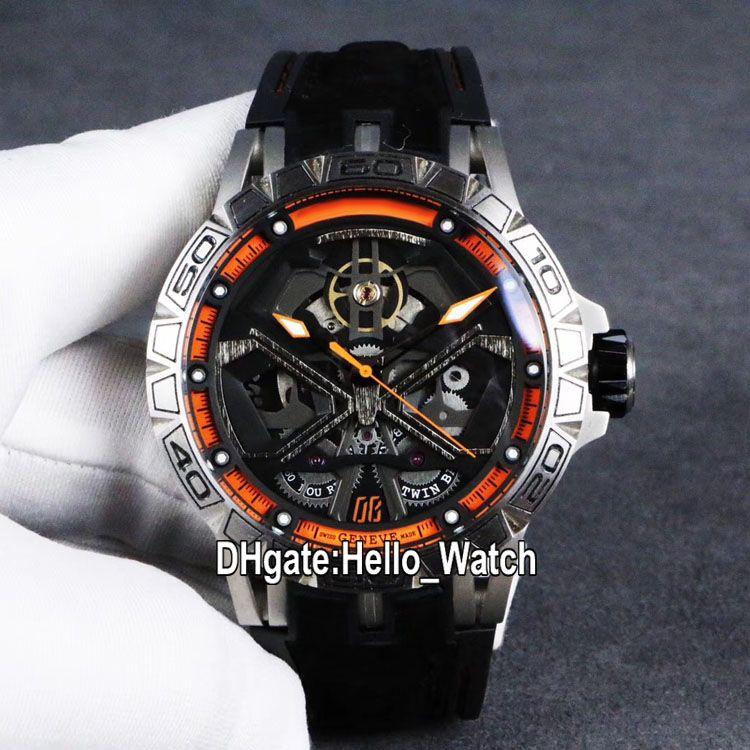 Luxe New Excalibur 46 RDDBEX0750 Automatique Tourbillon Mens Black Watch Skeleton Dial boîtier en acier orange en cuir intérieur Montres Hello_Watch