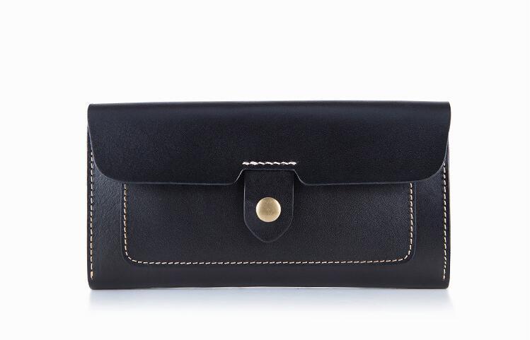 Kuh Leder Frauen solide Mode lange Geldbörse handgemachte Haspe Brieftasche J190718