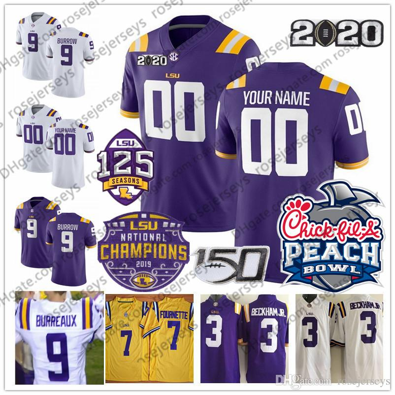 Custom New LSU Tigers BURREAUX 9 Joe Burrow 22 Clyde Edwards-Helaire 81 THADDEUS MOSS Stingley Jr. 150th 2020 Champions White Purple Yellow