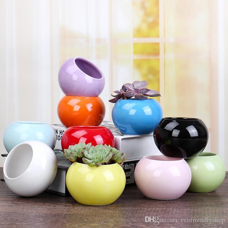 Ceramic planters pot mini succulent planter small blue cute bonsai plant round home and garden desk decorative