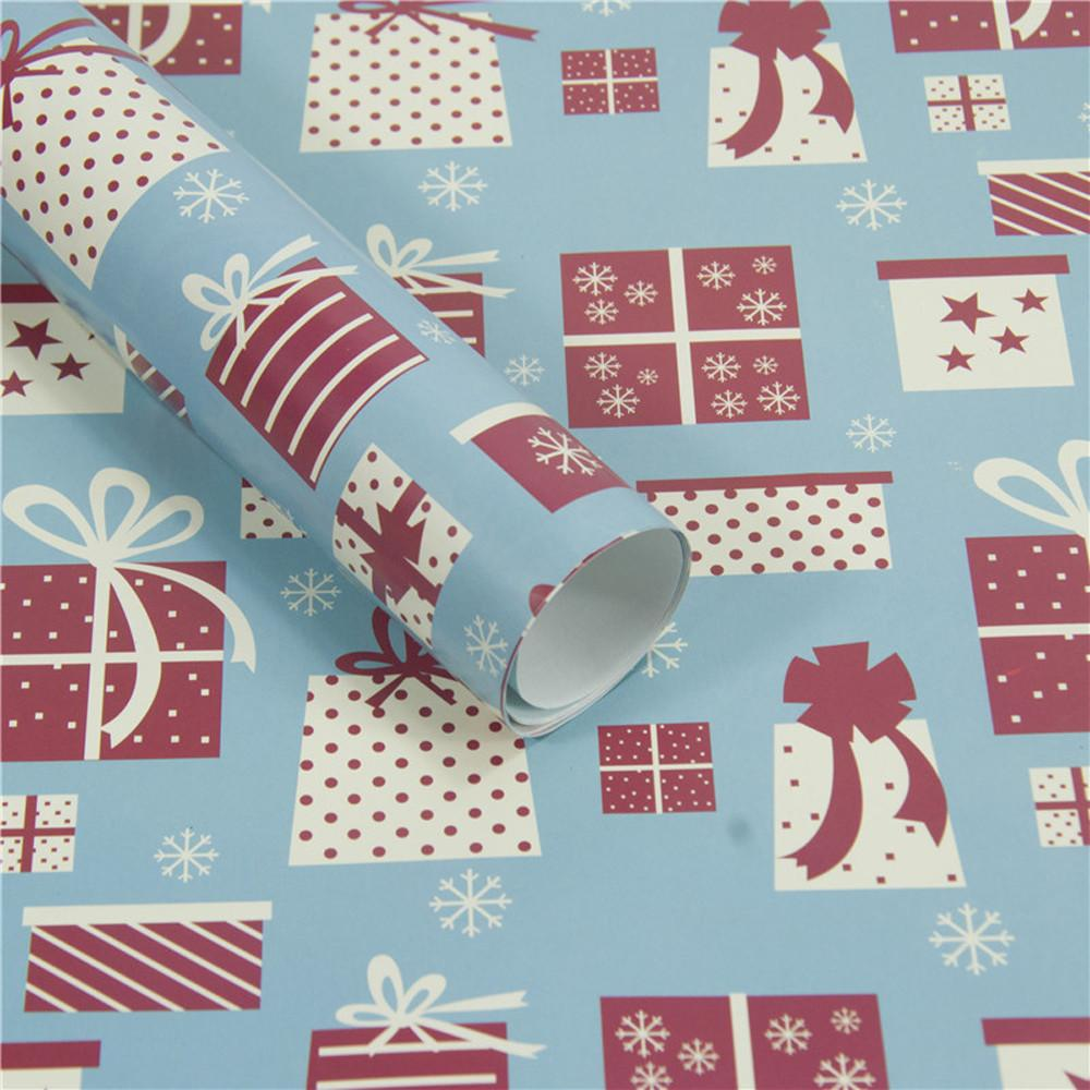Christmas Wrapping Paper Gift Present Tree Santa Wrap Decorative Xmas Party Roll Christmas Paper Cutter Decor Gift#10
