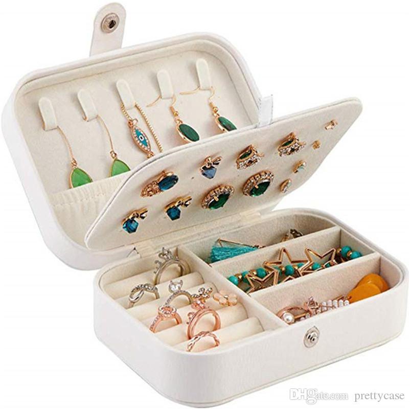 Caja de almacenamiento de joyería de cuero de PU de viaje portátil Pendiente Anillo Anillo Organizador Holder Multifunción Accesorios de joyería