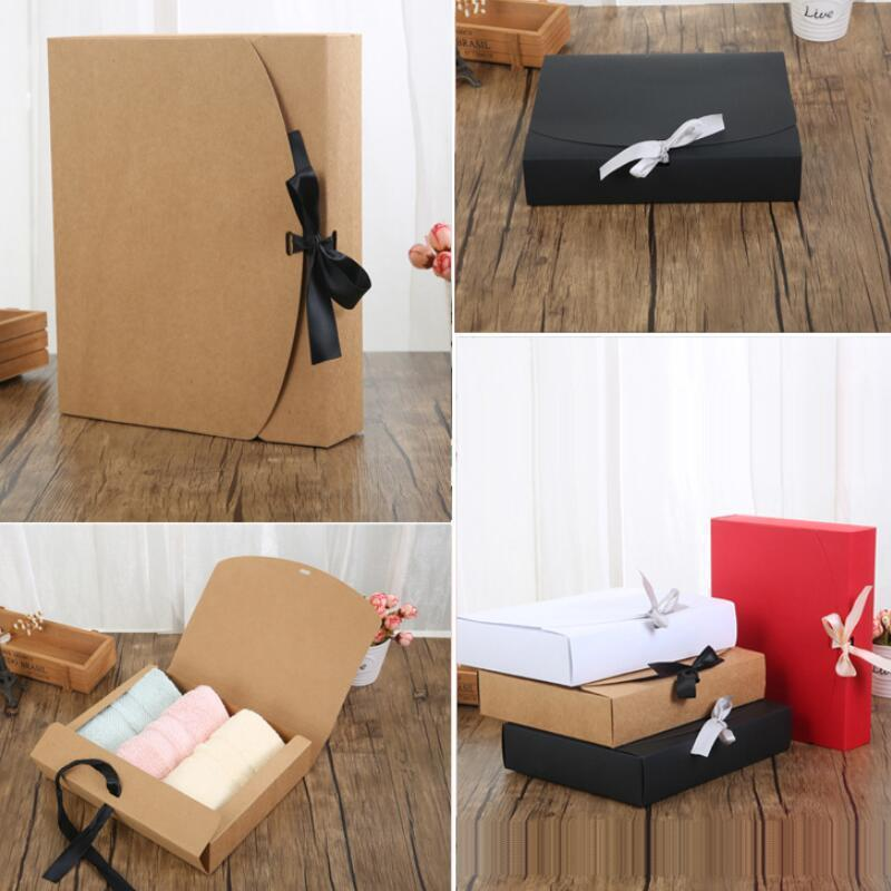 24*19.5*7cm White/Black/Brown/Red Paper Box with Ribbon Large Capacity Kraft Cardboard Paper Gift Box Scarf Clothing Packaging