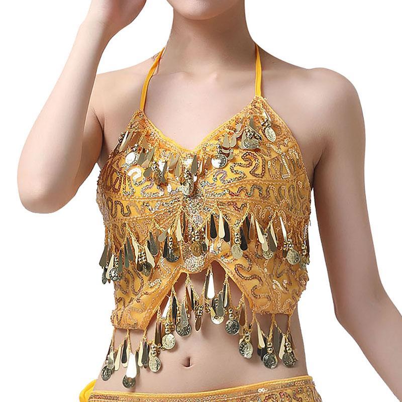 Мини-сексуальный женский V-образным вырезом костюм для танца живота танец живота висит шеи блестками кисточкой топы