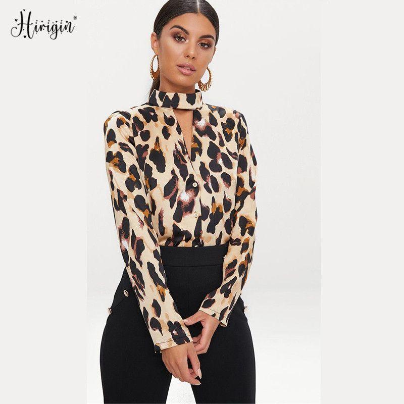 إمرأة الرسن الرقبة ليوبارد طباعة بلوزة 2020 السيدات جديد كم طويل قميص كبير جدا أنثى الأزياء مثير قميص الملابس الأعمال