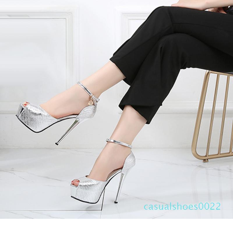 2020 Peep Toe Seksi İnce Yüksek Topuklar Parti Sandalet Kadın Ayakkabı Toka Kayış Platformu Sıcak Ayakkabı Kadınlar Sandalet c22 Lapolaka Sıcak Satış