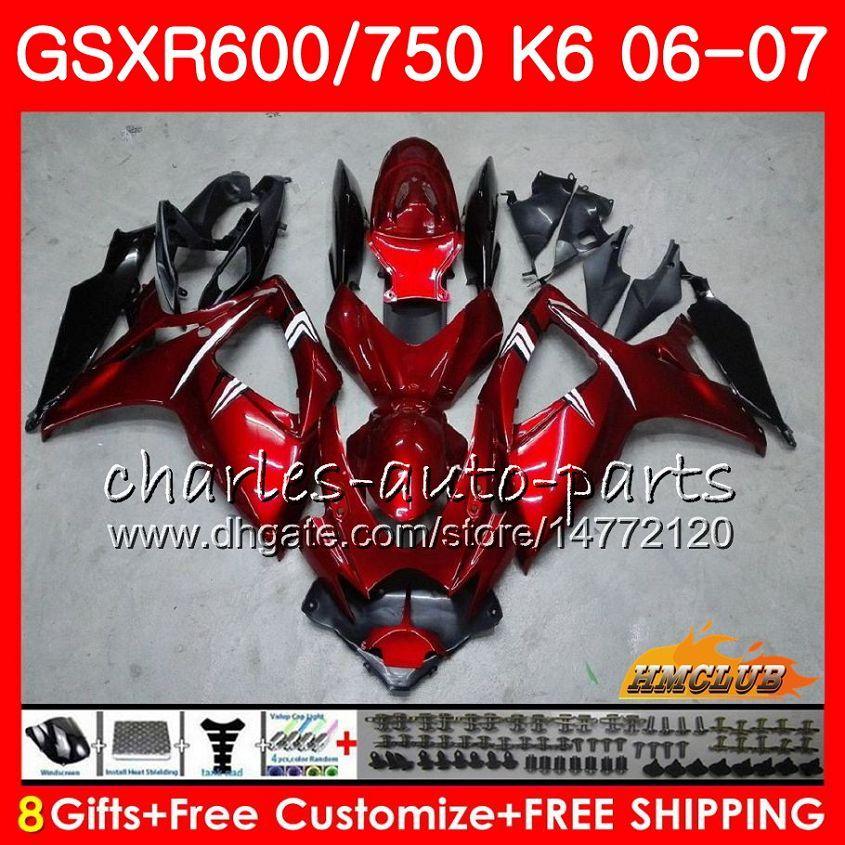 Cuerpo para Suzuki GSX R600 GSX-R750 GSXR-600 GSXR-600 06-07 Vino rojo 8HC.15 GSX R750 GSXR 600 750 06 07 K6 GSXR750 2006 2007 Kit de carga