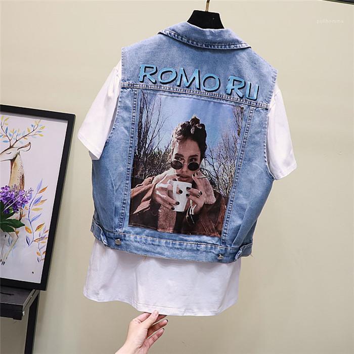 라이트 블루 여성 봄 코트 여름 진 여자 조끼 라펠 넥 민소매 여자의 겉옷