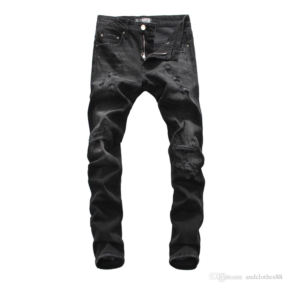 2020 Mens Designer Jeans mode affligée Zipper Jeans Hommes Ripped Designer Pantalon Skinny Biker Hip Hop jeans skinny hommes de moto