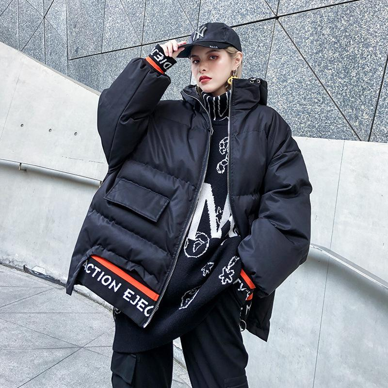 Fashion- Letter Hooded Parka Woman Winter 2019 Thick Pockets Zippers Parka Cotton-padded Clothes Loose Black Green QYF988