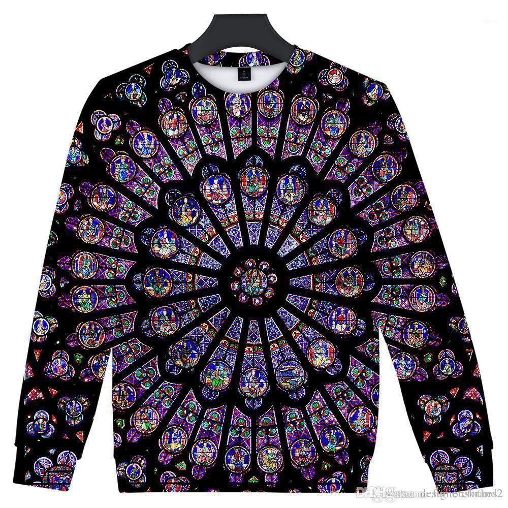 de Paris O-Ansatz Pullover langärmelige Sweatshirts der Männer 3D Entwerferhoodies-Notre-Dame